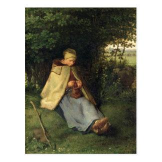 Carte Postale Le tricoteur ou, la bergère assise, 1858-60