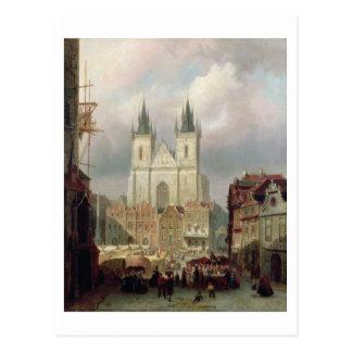 Carte Postale Le vieux marché à Prague, 1881 (huile sur le canva