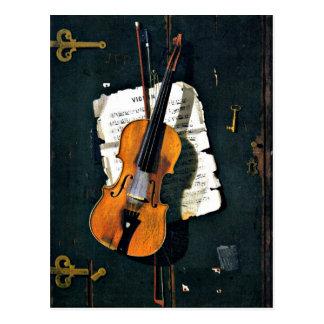 Carte Postale Le vieux violon, peinture de beaux-arts