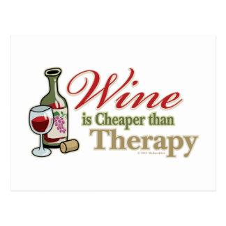 Carte Postale Le vin est meilleur marché que la thérapie