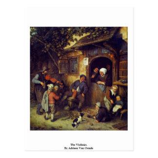 Carte Postale Le violoniste. Par Adriaen Van Ostade