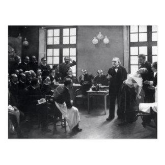 Carte Postale Leçon avec docteur Charcot chez le Salpetriere