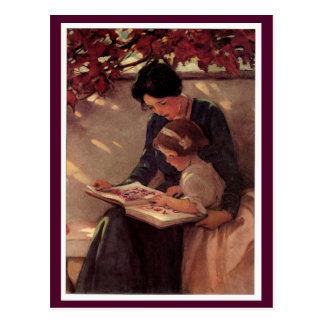 Carte Postale Lecture de mère et d'enfant