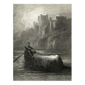 Carte Postale Légende Arthurian : Le corps d'Elaine