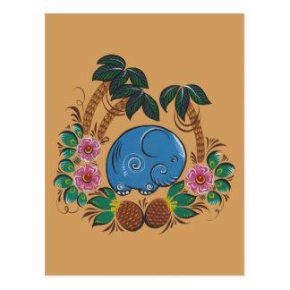 Carte Postale L'éléphant et les ananas