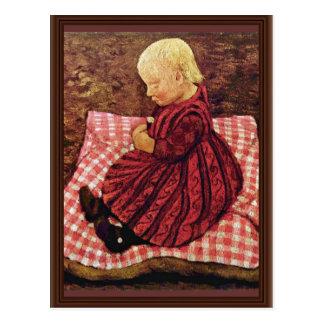 Carte Postale L'enfant de Bauer sur les coussins Rouge-Vérifiés
