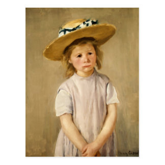 Carte Postale L'enfant de Cassatt dans le chapeau de paille -