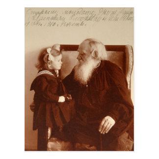 Carte Postale Léon Tolstoy avec sa petite-fille, Tatiana