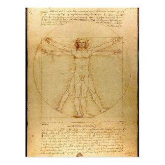 Carte Postale Leonardo da Vinci - peinture d'homme de Vitruvian