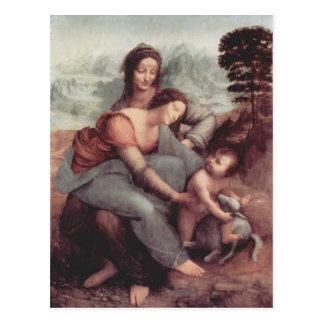 Carte Postale Leonardo Vinci- la Vierge et l'enfant avec St Anne