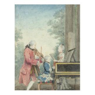 Carte Postale Leopold Mozart et ses enfants Wolfgang