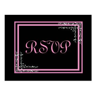 Carte postale l'épousant rose et noire de RSVP