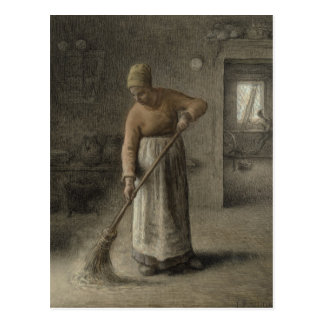 Carte Postale L'épouse d'un agriculteur balayant, 1867