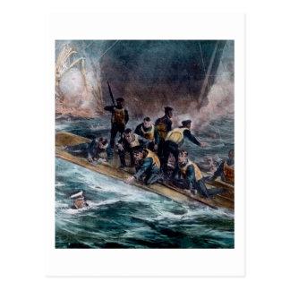 Carte Postale L'équipage titanique de RMS échappe à des éviers