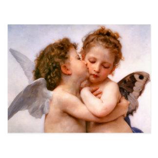 Carte Postale Les anges embrassent d'abord, Bouguereau