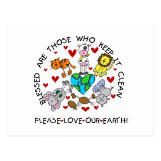Carte Postale Les animaux aiment notre terre