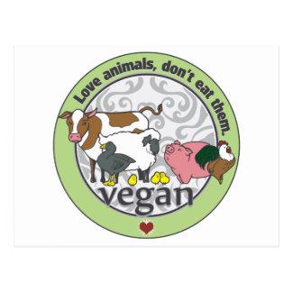 Carte Postale Les animaux d'amour ne les mangent pas végétaliens