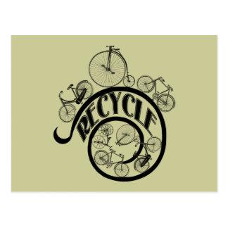 Carte Postale Les bicyclettes vintages réutilisent l'habillement