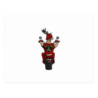 Carte Postale Les cerfs communs de Père Noël montant un vélo