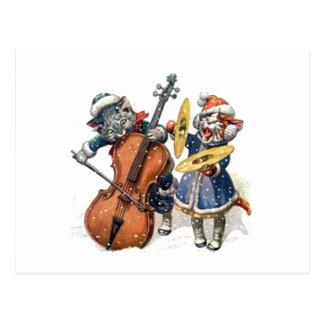 Carte Postale Les chats jouent le violoncelle et les cymbales
