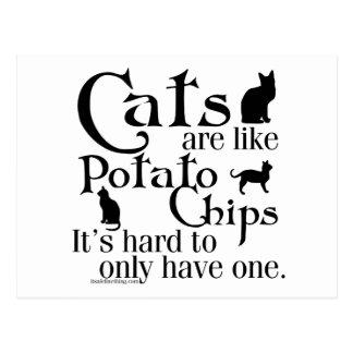 Carte Postale Les chats sont comme des pommes chips…