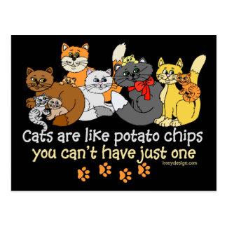 Carte Postale Les chats sont comme des pommes chips
