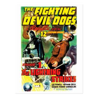 Carte Postale Les chiens de diable de combat