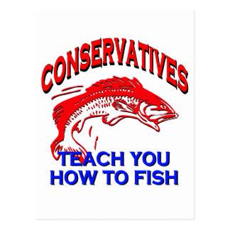 Carte Postale Les conservateurs vous enseignent à pêcher