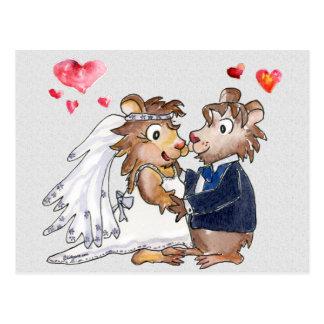 Carte Postale Les couples de mariage de bande dessinée sauvent