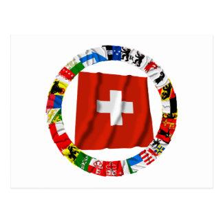 Carte Postale Les drapeaux des cantons de la Suisse