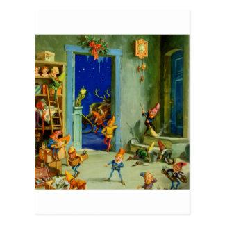 Carte Postale Les elfes de Père Noël dans son atelier le