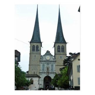 Carte Postale Les flèches jumelles de l'église de Hof