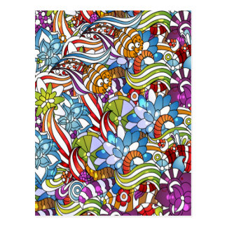 Carte Postale Les fleurs colorées fraîches laisse des points de