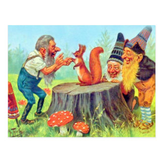 Carte Postale Les gnomes amicaux observent un écureuil