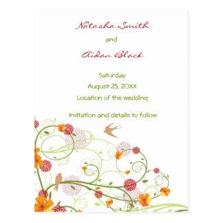 Carte Postale Les hirondelles florales jaunes sauvent