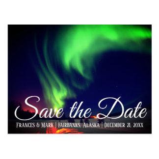 Carte Postale Les lumières du nord d'Alaska font gagner la date