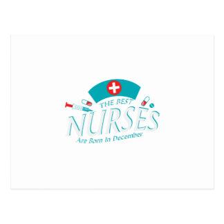 Carte Postale Les meilleures infirmières sont en décembre cadeau
