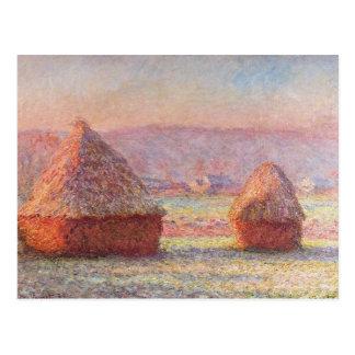 Carte Postale Les meules de foin de Monet, Frost blanc, lever de