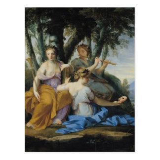 Carte Postale Les Muses, Clio, euterpe et Thalia, c.1652-55