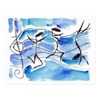 Carte Postale Les notes musicales viennent en musique de la vie