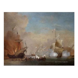 Carte Postale Les pirates attaquent une peinture anglaise de