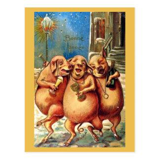 Carte Postale Les porcs français célèbrent le cru de nouvelle