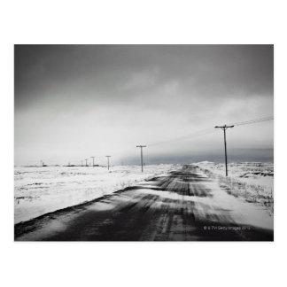 Carte Postale Les poteaux de téléphone dans la neige ont couvert