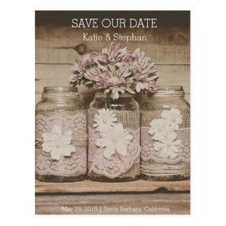 Carte Postale Les pots rustiques de dentelle de mariage SAUVENT