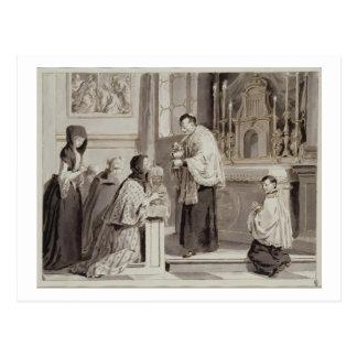 Carte Postale Les sept sacrements : Communion, 1779 (stylo, brun
