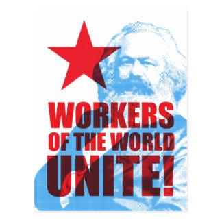 Carte Postale Les travailleurs de Karl Marx du monde unissent !