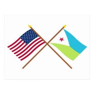 Carte Postale Les USA et drapeaux croisés par Djibouti