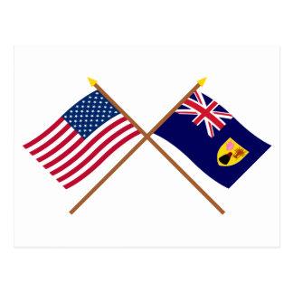 Carte Postale Les USA et Turcs et drapeaux croisés par Caïques