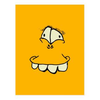 Carte Postale les yeux maladroits et les dents Toon font face