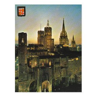 Carte Postale L'Espagne vintage, Barcelone au coucher du soleil